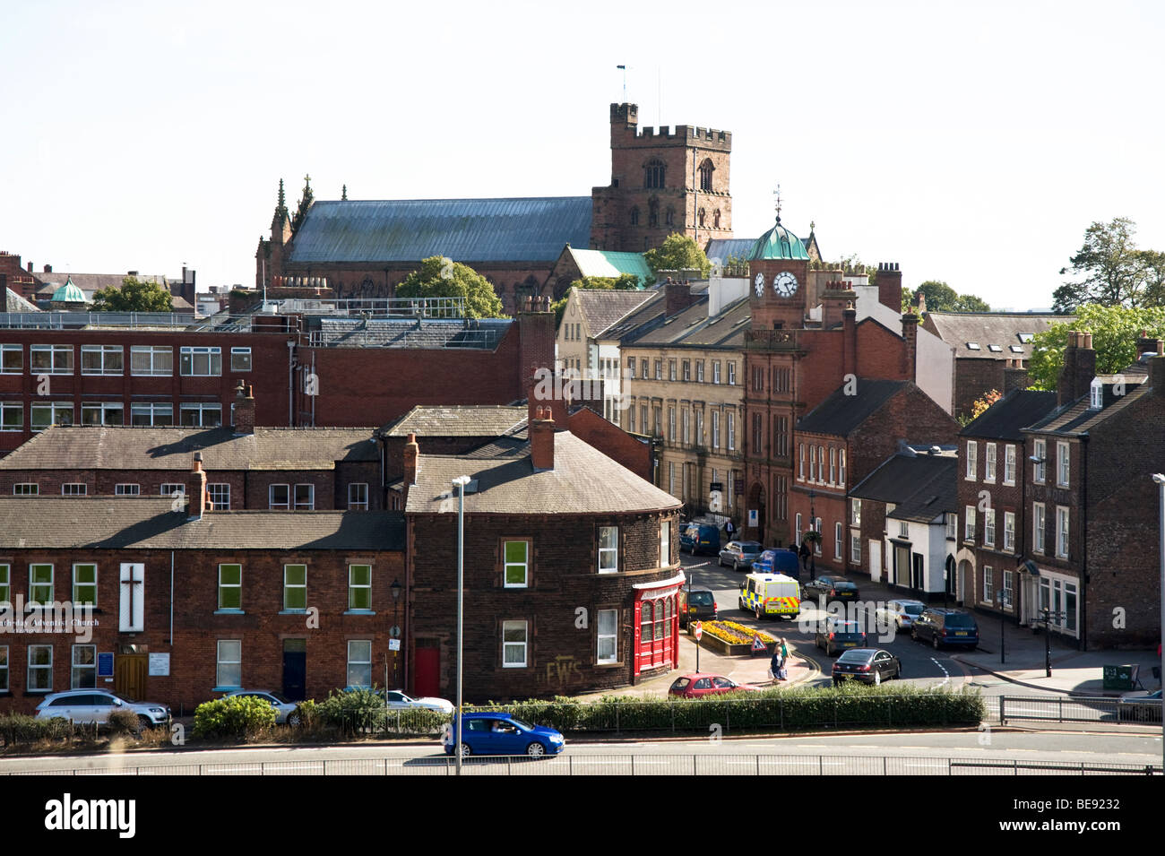 England's most northern city, Carlisle, looking down Castle Street with the Cathedral on skyline. - Stock Image