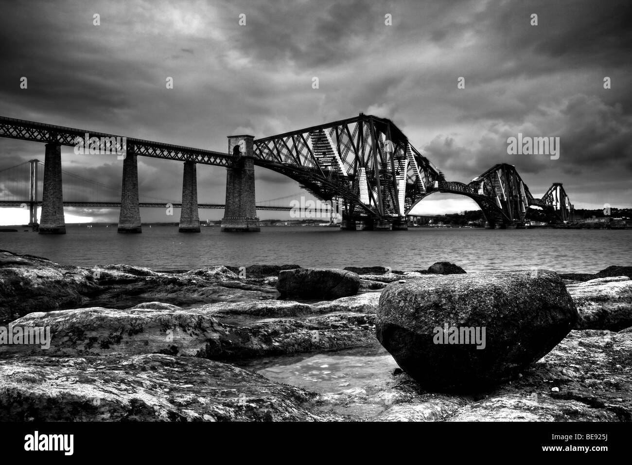 The Forth Railway Bridge in Edinburgh, Scotland, United Kingdom, Europe - Stock Image