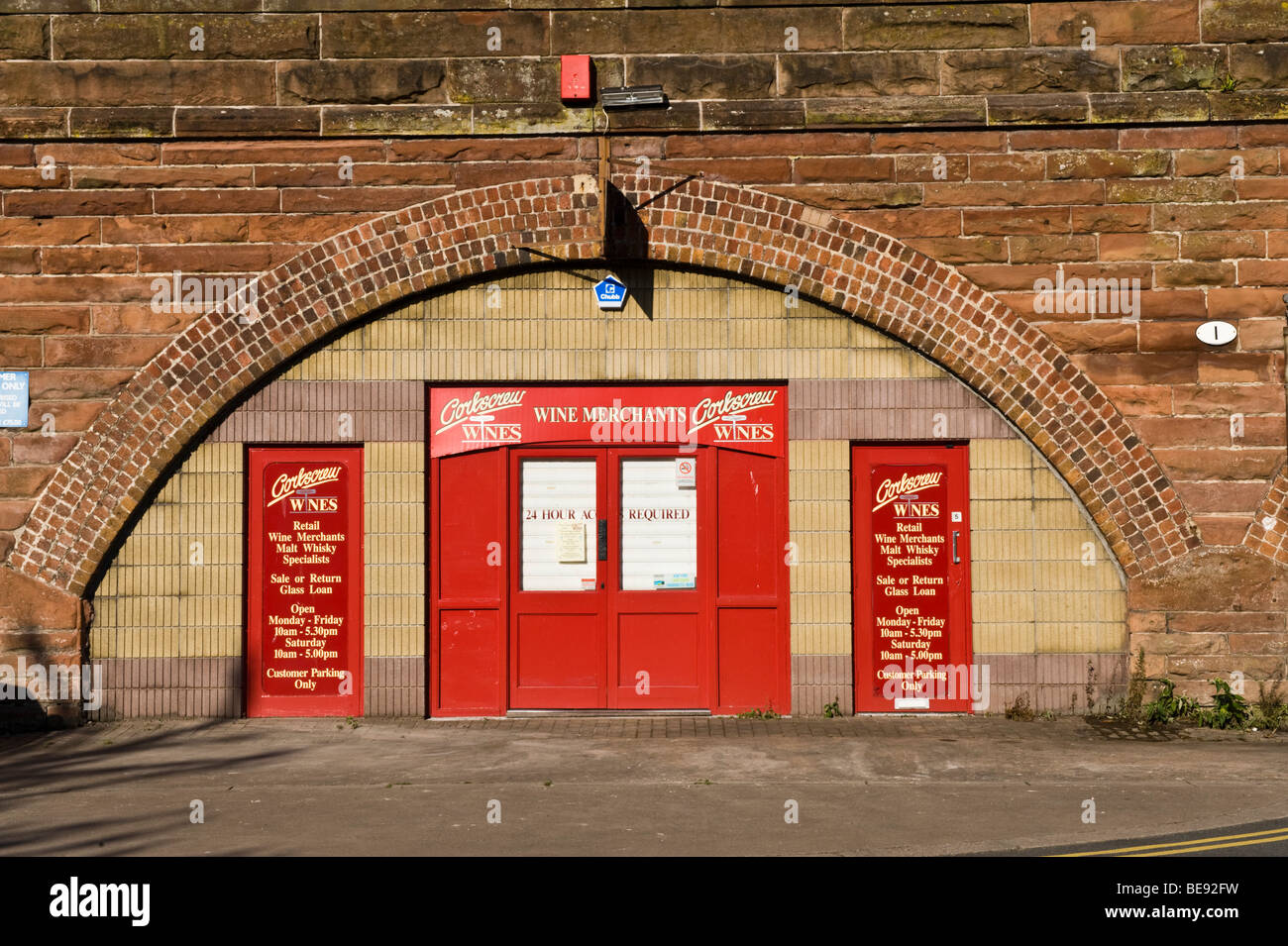 Wine retail shop located in railway arches in England's most northerly city Carlisle, Cumbria, uk - Stock Image