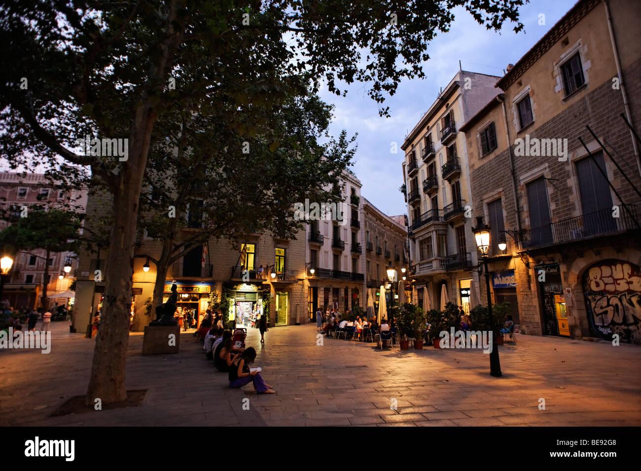 Placa Sant Jesep Oriol in Barri Gotic. Barcelona. Spain - Stock Image