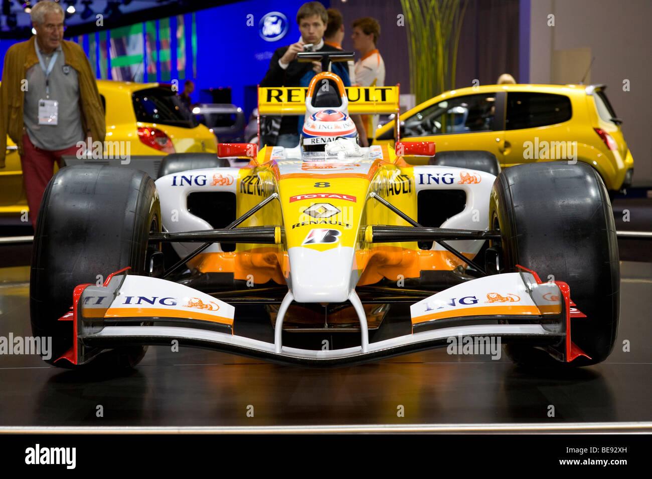 Renault formula one F1 racing car at a European motor show - Stock Image