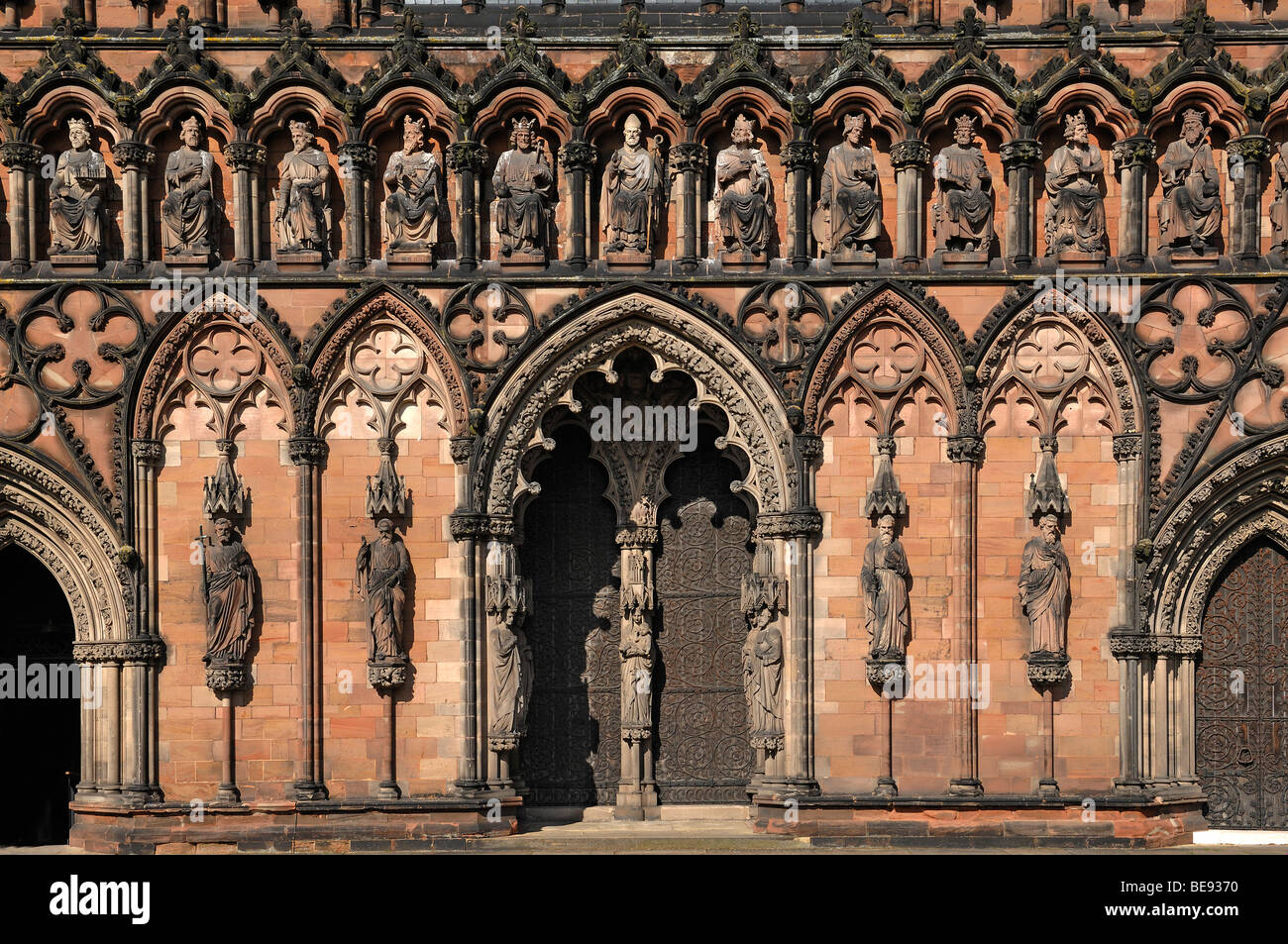 Detail Of The Main Facade Lichfield Cathedral Decorated Style English Gothic 1256 1340 Close England UK