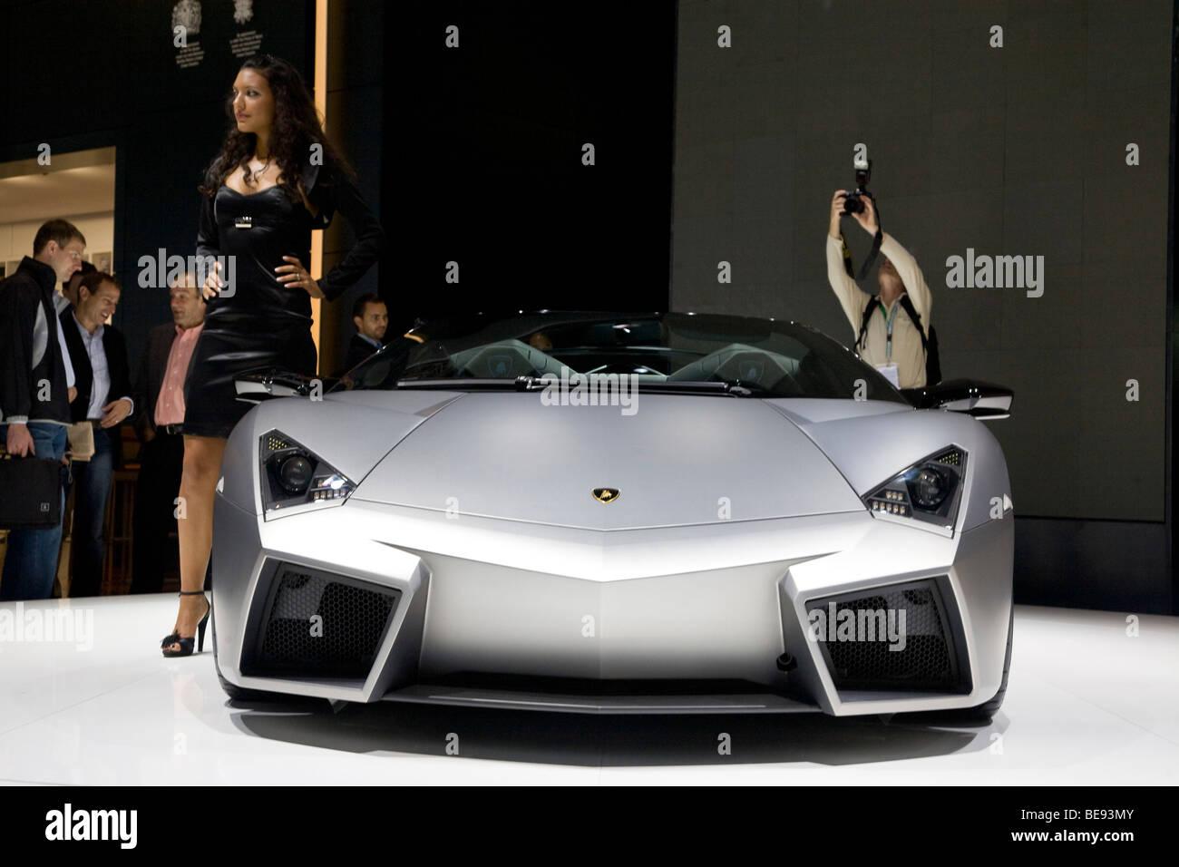 Lamborghini Reventon Roadster at a European motor show - Stock Image