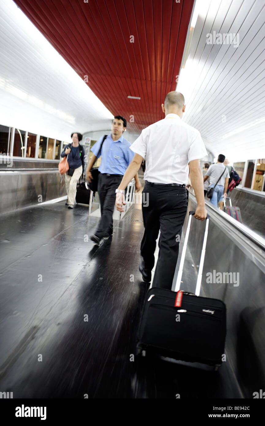Travelers rushing at BCN airport. Barcelona. Spain - Stock Image