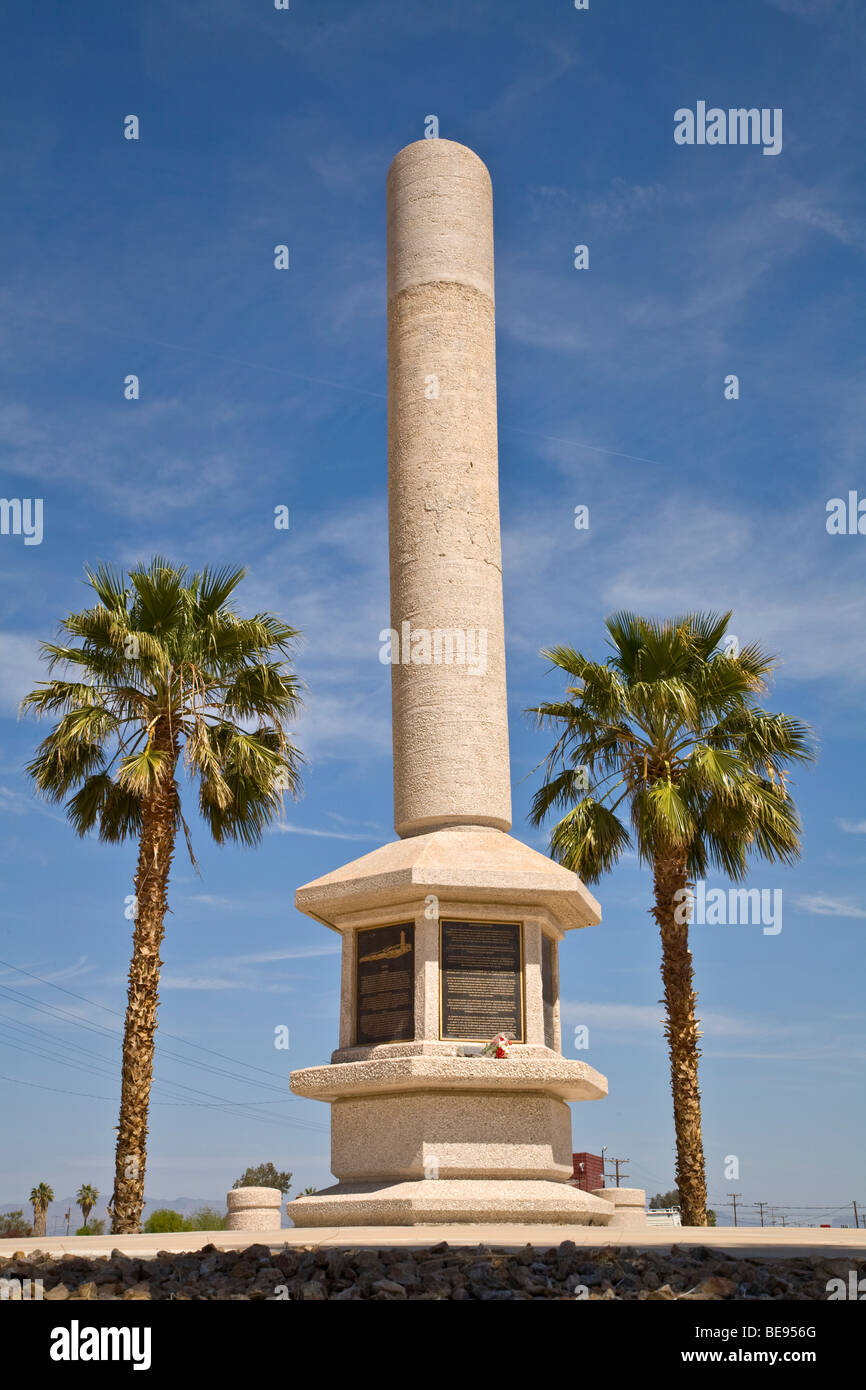 Monument at Posten War Relocation Center commemorates site of Japanese interment camp during World War II, Posten, - Stock Image
