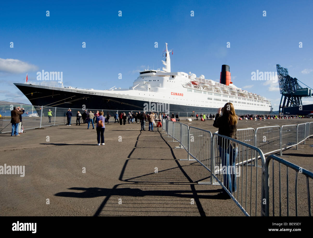 The last visit of the QE2 to  Greenock in October 2008. - Stock Image
