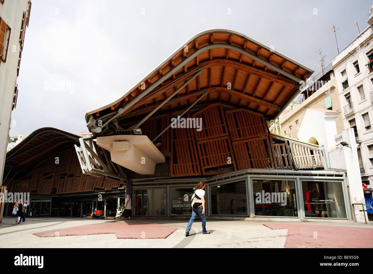 Mercat Santa Caterina market. Barri Gottic. Barcelona. Spain - Stock Image