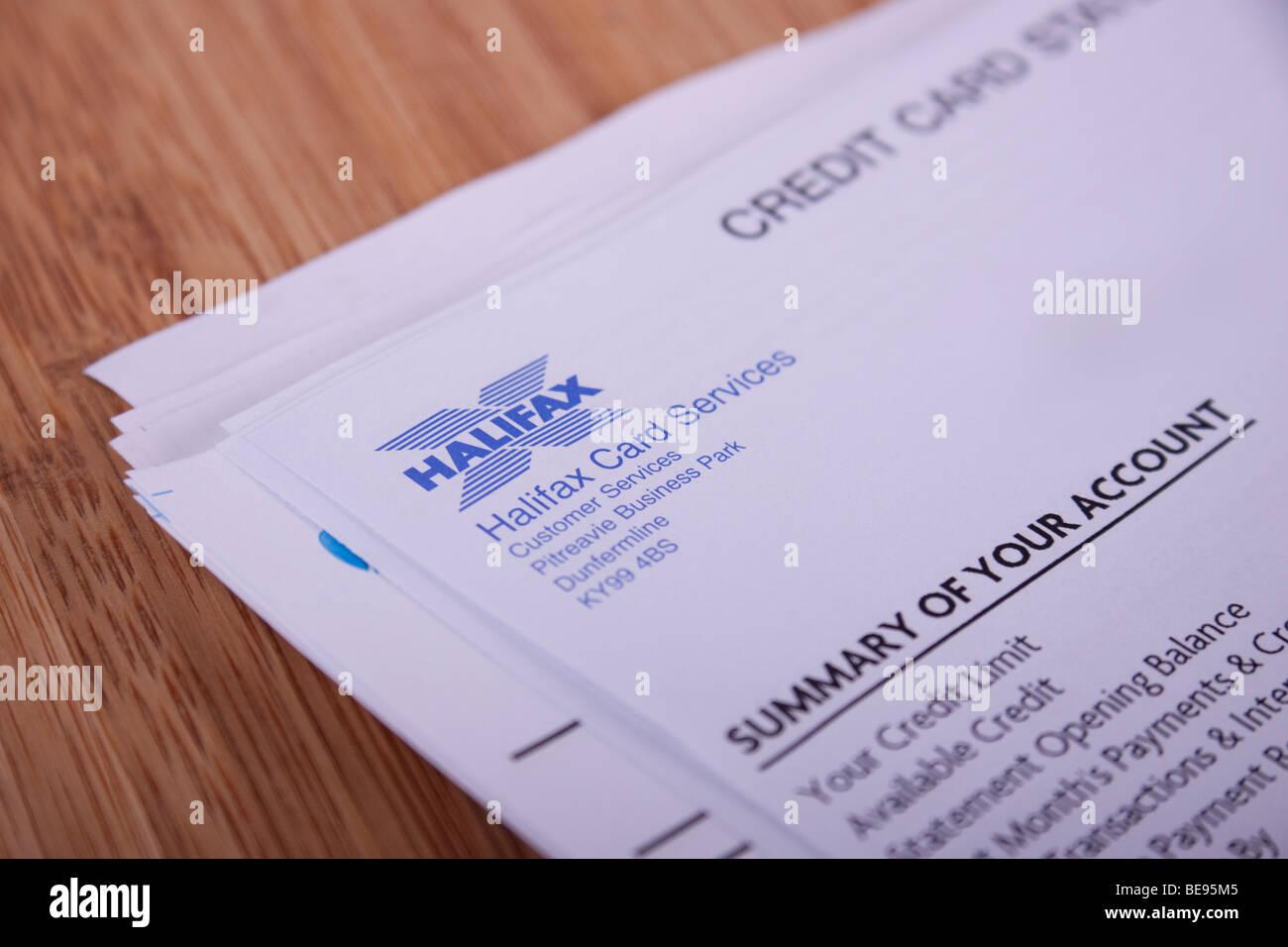 Halifax Credit Card Statement Stock Photo Alamy