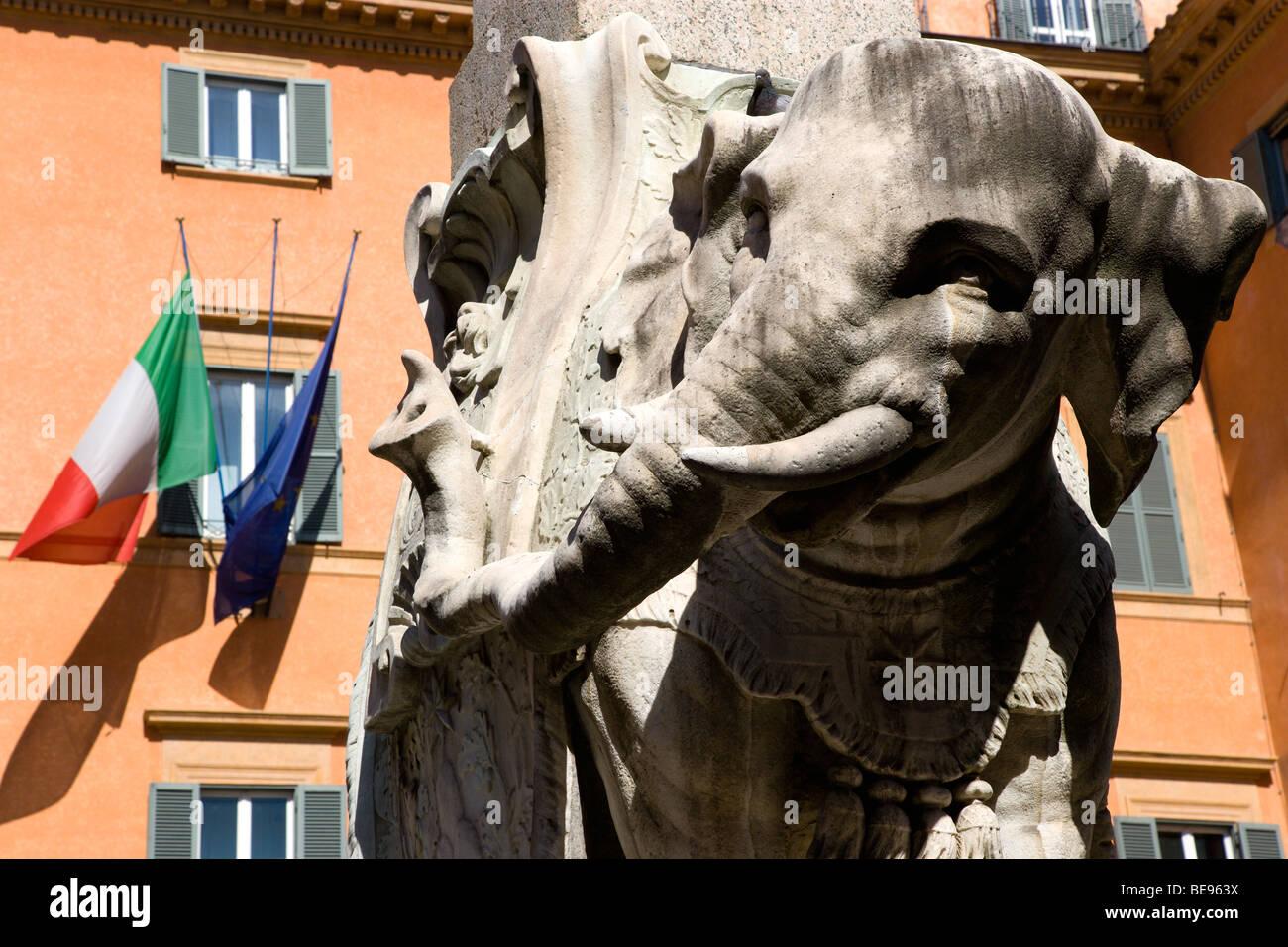 ITALY Rome Lazio Bernini's marble elephant in the Obelisk of Santa Maria Sopra Minerva in the Piazza della Minerva Stock Photo