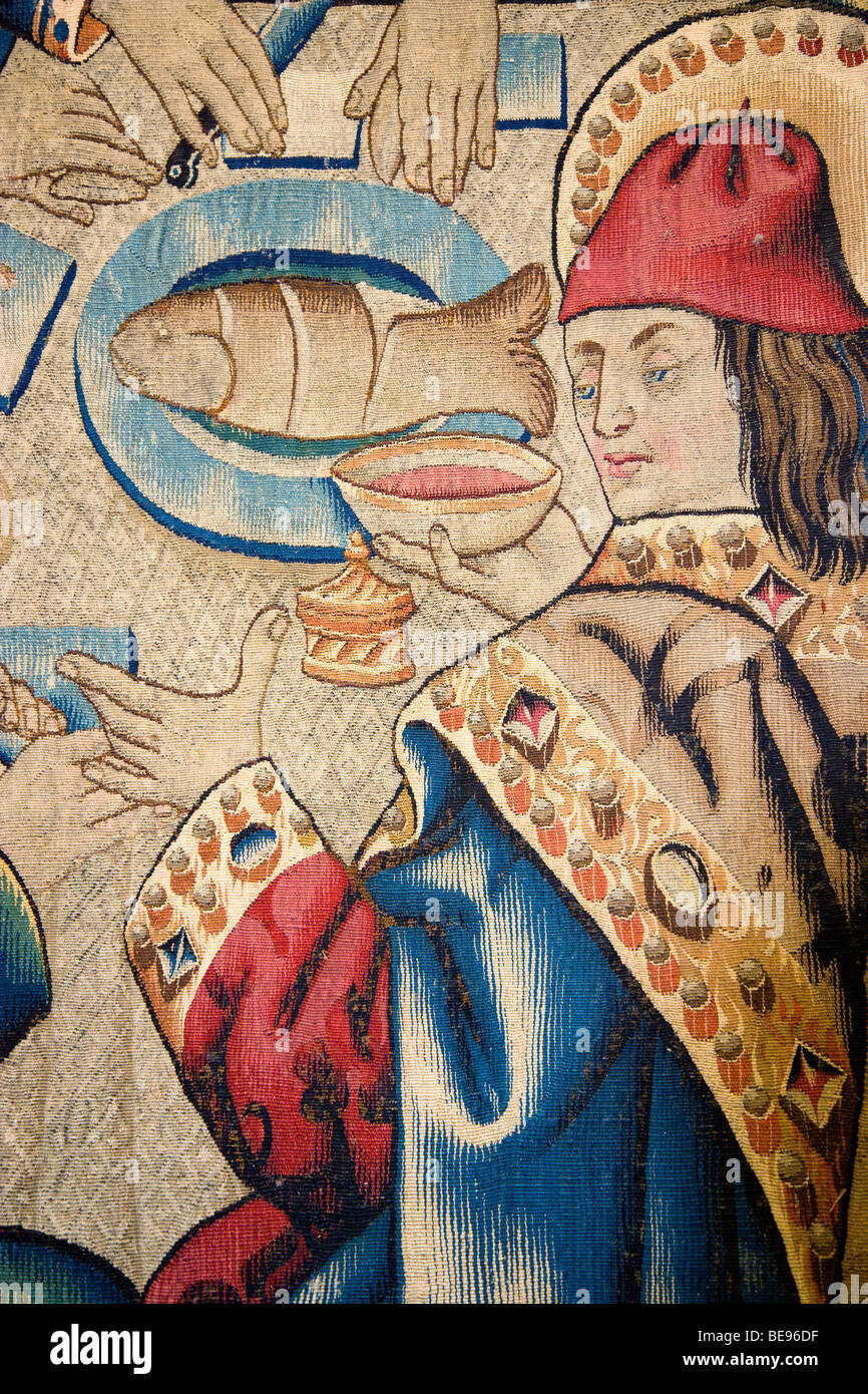 ITALY Lazio Rome Vatican City Museum Detail of a 16th Century Flemish tapestry of the Last Supper from cartoons - Stock Image