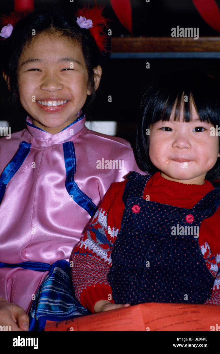 ENGLAND London Chinatown Soho Chinese New Year Children celebrating the Year of the Tiger - Stock Image
