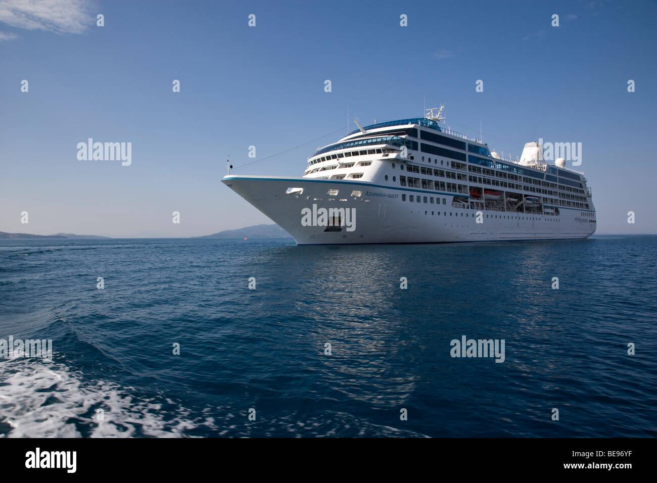 Albania Sarande Cruise Ship Azamara Quest Anchored - Stock Image