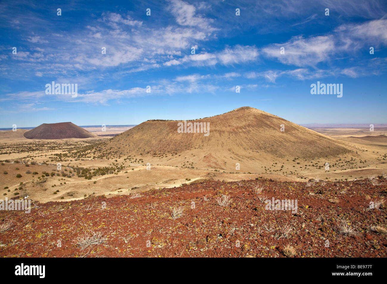 Volcanic cinder cones of San Francisco Volcanic Field, view from Red Hill with SP Crater on left, near Flagstaff, - Stock Image