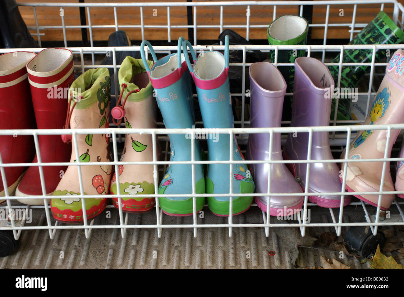 Welly Boots outside a Pre-school Stock Photo