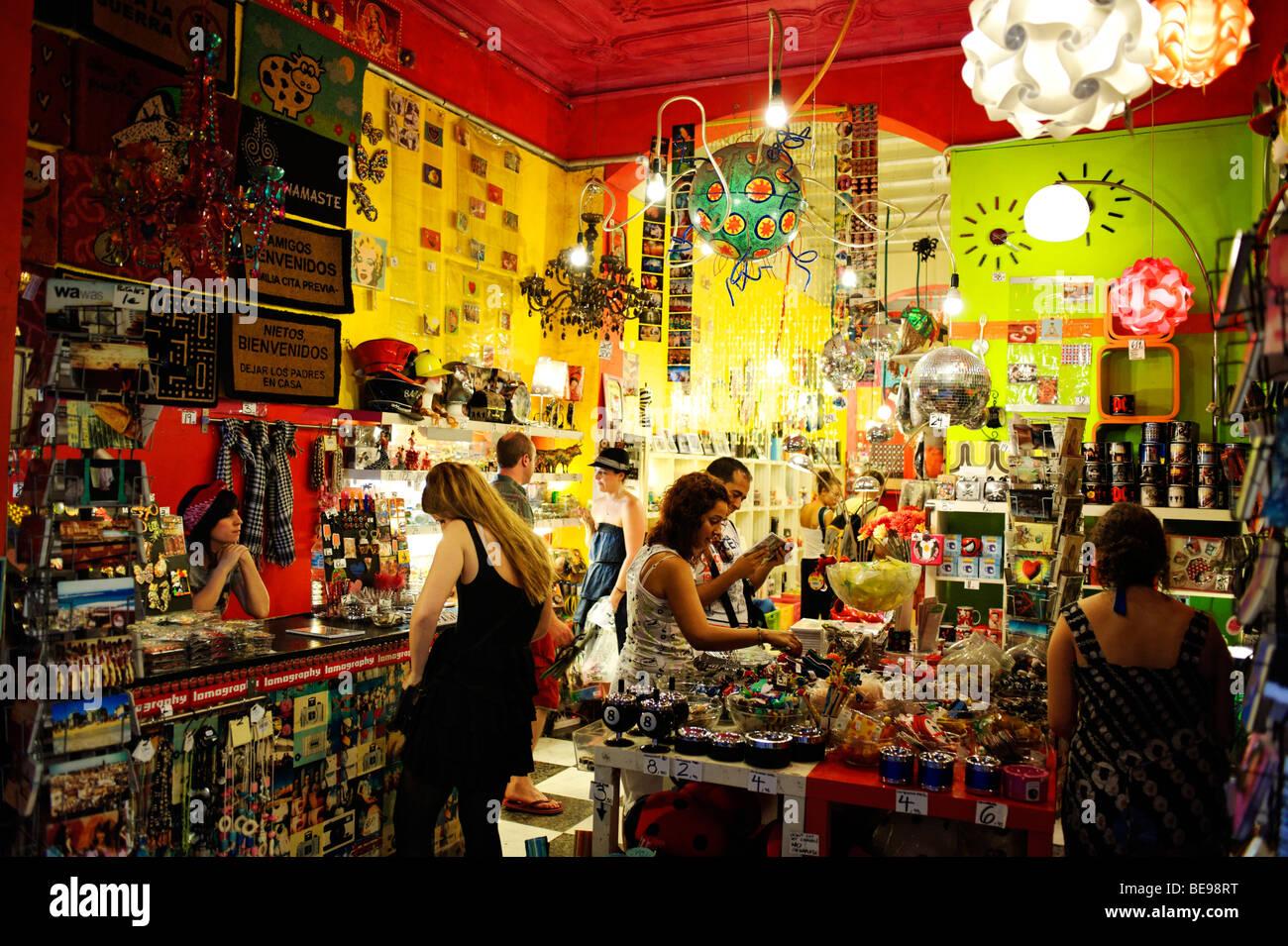 Hip boutique store selling memorabilia, gifts and interior decor. Barri Gotic. Barcelona. Spain - Stock Image