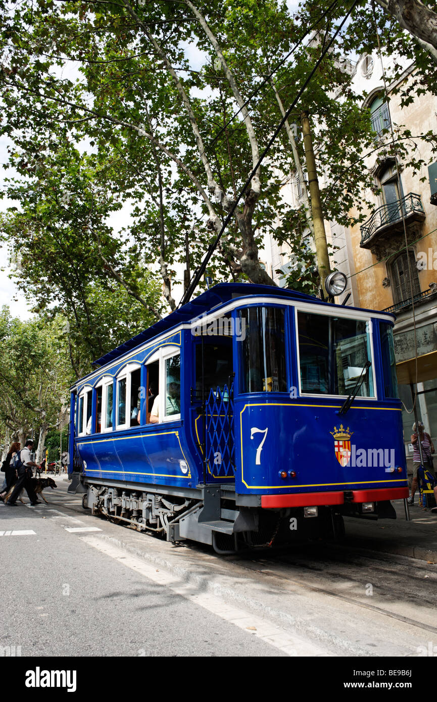The Tramvia Blau funicular climbing to Tibidabo. Barcelona. Spain - Stock Image