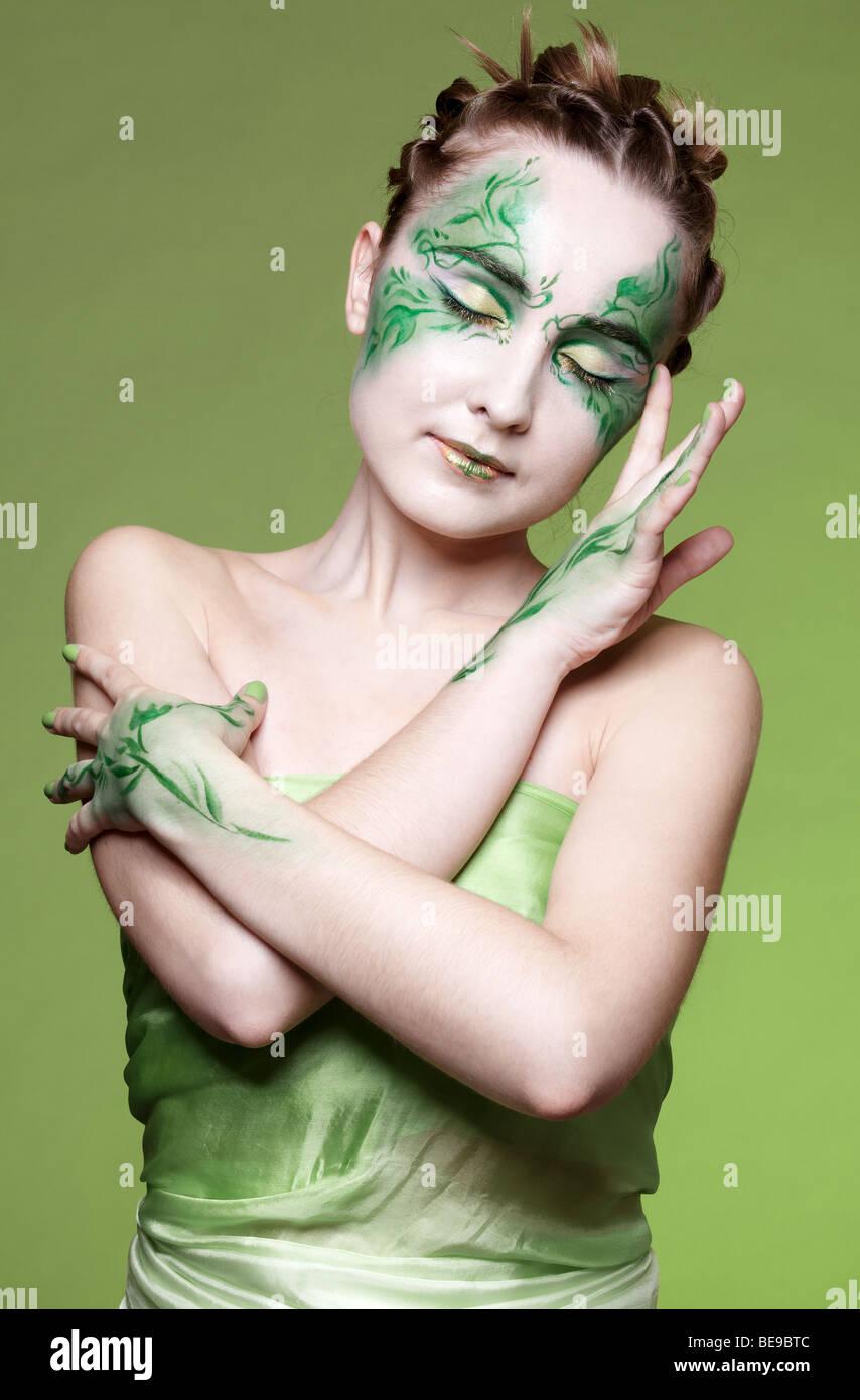 Portrait Of Beautiful Elven Girl With Bodyart Stock Photo Alamy