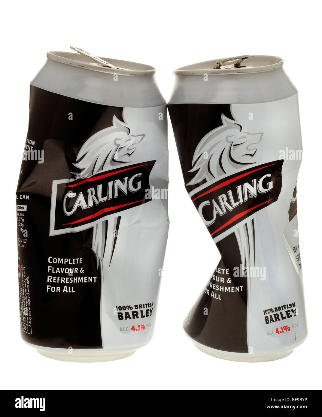 Crushed Empty Cans of Carling Lager. - Stock Image