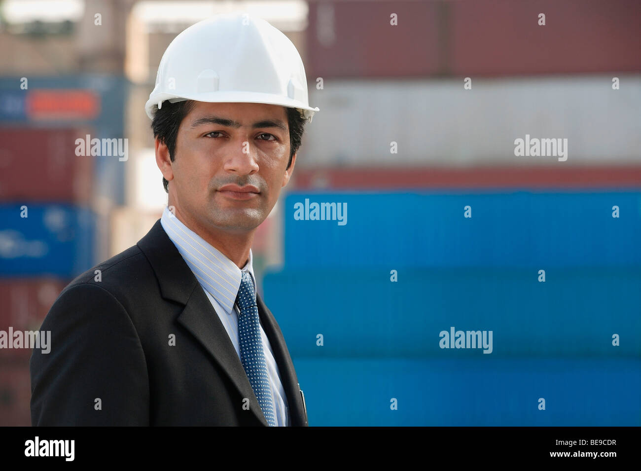 Man with helmet looking at camera - Stock Image