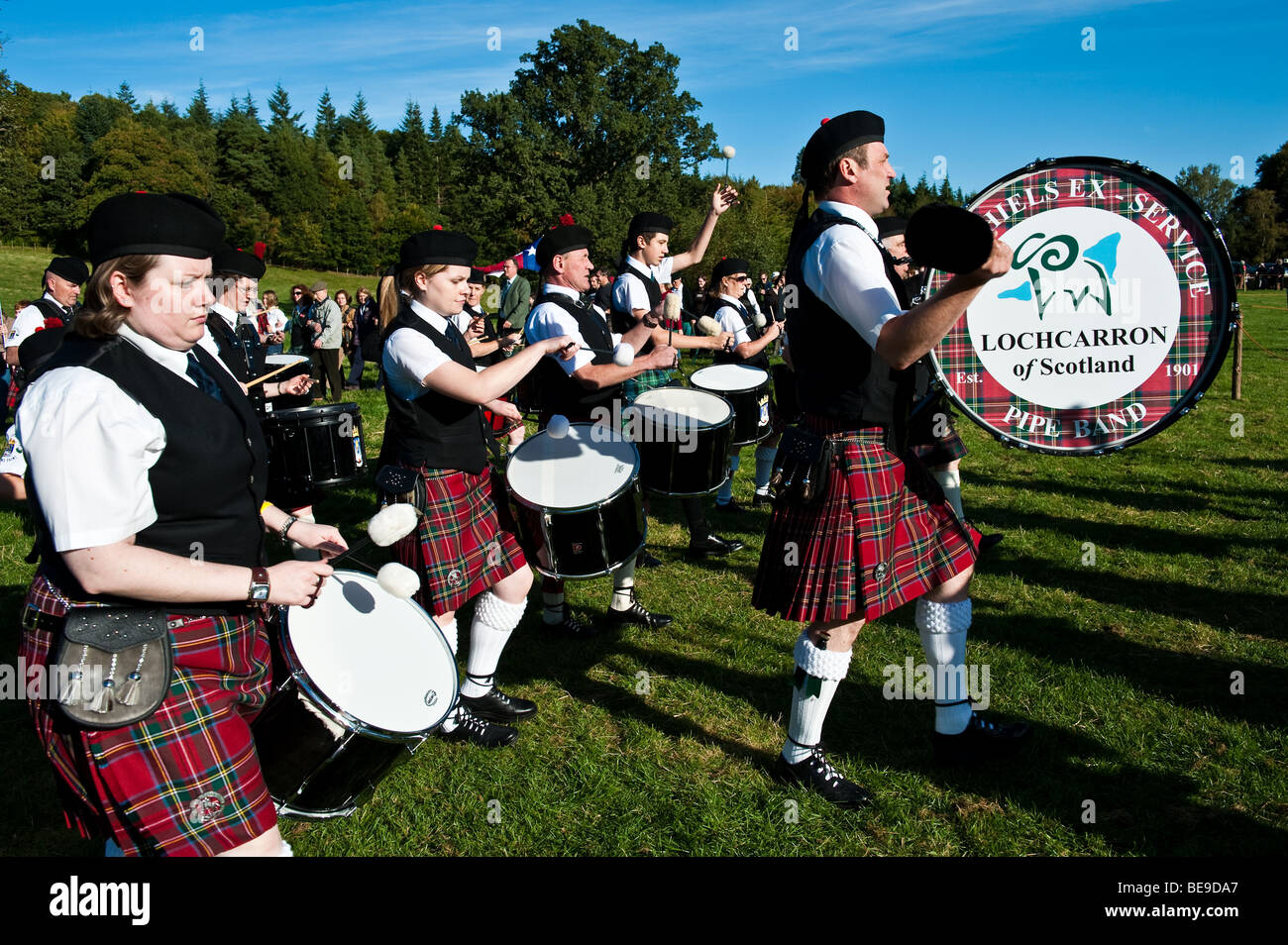 Massed pipes and drums at the 'Muster' - Homecoming 2009 Clan gathering for the Scott Clan at Bowhill House - Stock Image