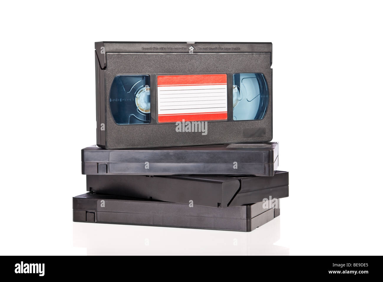 Old Video Cassette tapes isolated on white background - Stock Image