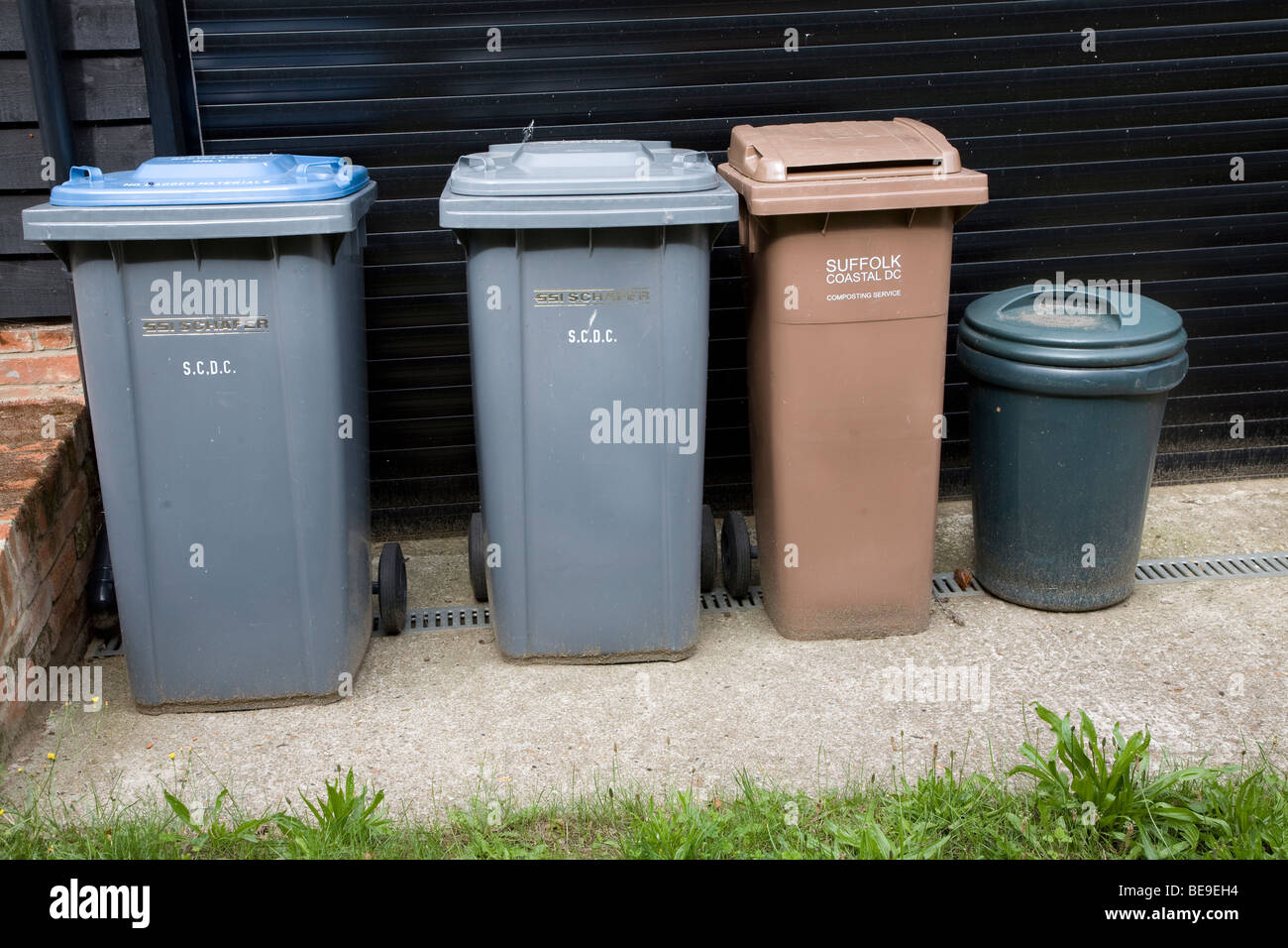 Recycling bins for sorted refuse Stock Photo