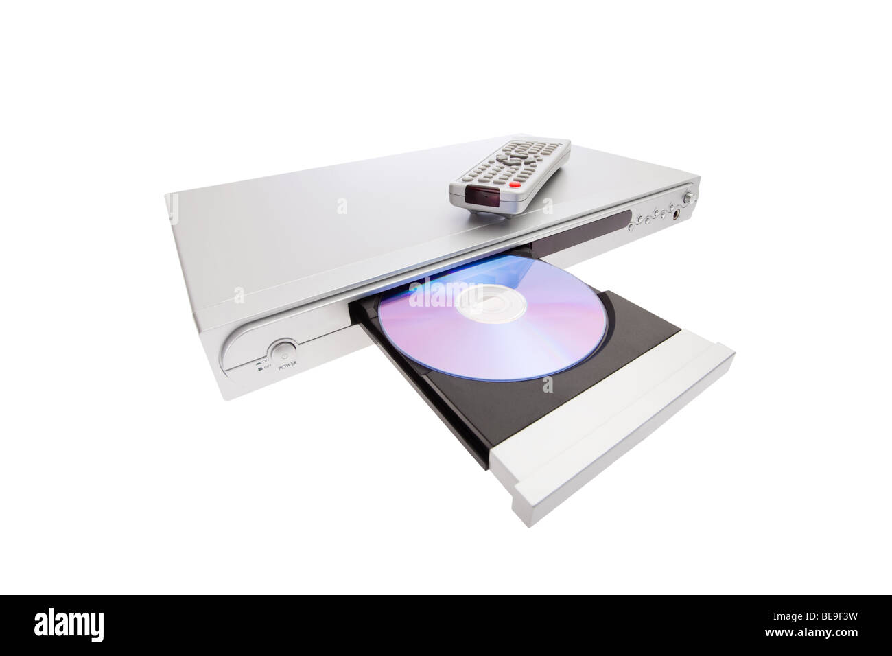DVD player ejecting disc with remote control isolated on white background. open tray disk blu-ray cd compact cutout - Stock Image