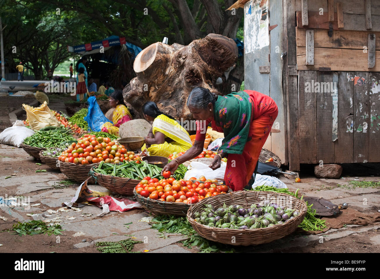Indian street market in Yenumulapalli with baskets of vegetables, Yenumulapalli, Andhra Pradesh, India - Stock Image