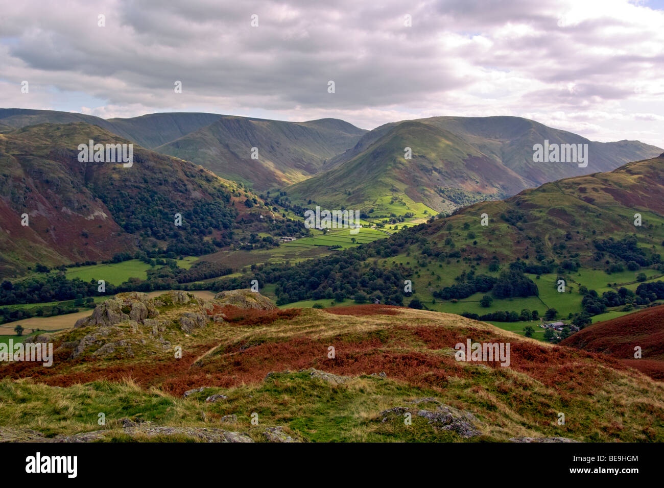 View from Arnison Crag in the Lake District National Park overlooking High Street,Gray Crag, Thornthwaite Crag and - Stock Image