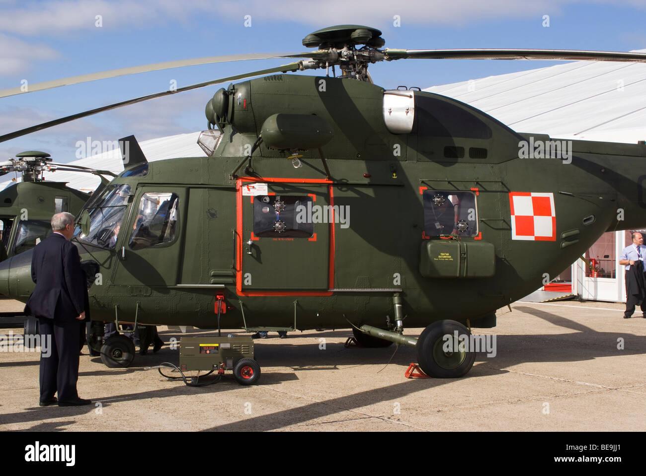 Polish Air Force PZL-Swidnik W-3 RL Sokol Helicopter 0417 at Helitech Duxford Aerodrome Cambridgeshire England United - Stock Image