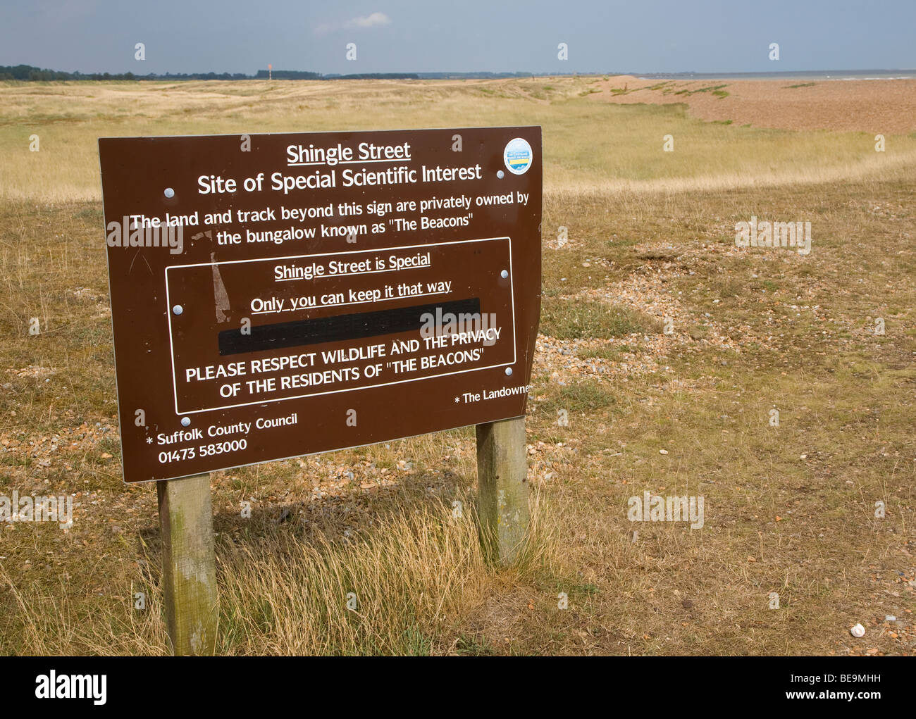 Site of Special Scientific Interest, Shingle Street, Suffolk, England - Stock Image