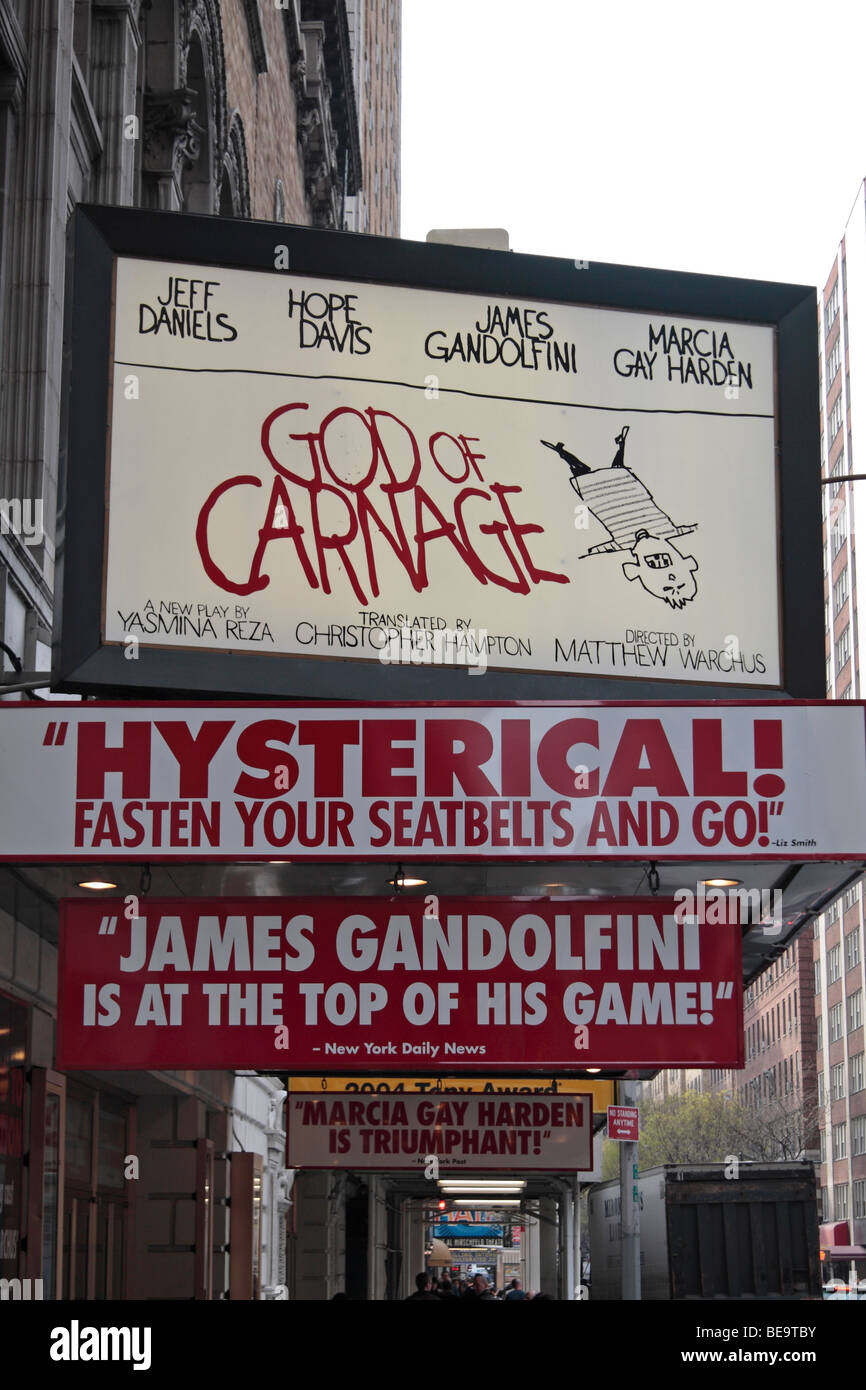 Sign above the Bernard B Jacobs Theater, with the 'God of Carnage' Broadway show, 45th Street, New York, - Stock Image