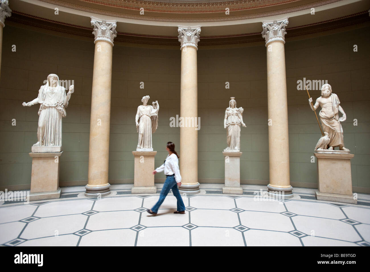 Sculptures in atrium of Altes Museum on Museumsinsel in Berlin Germany - Stock Image