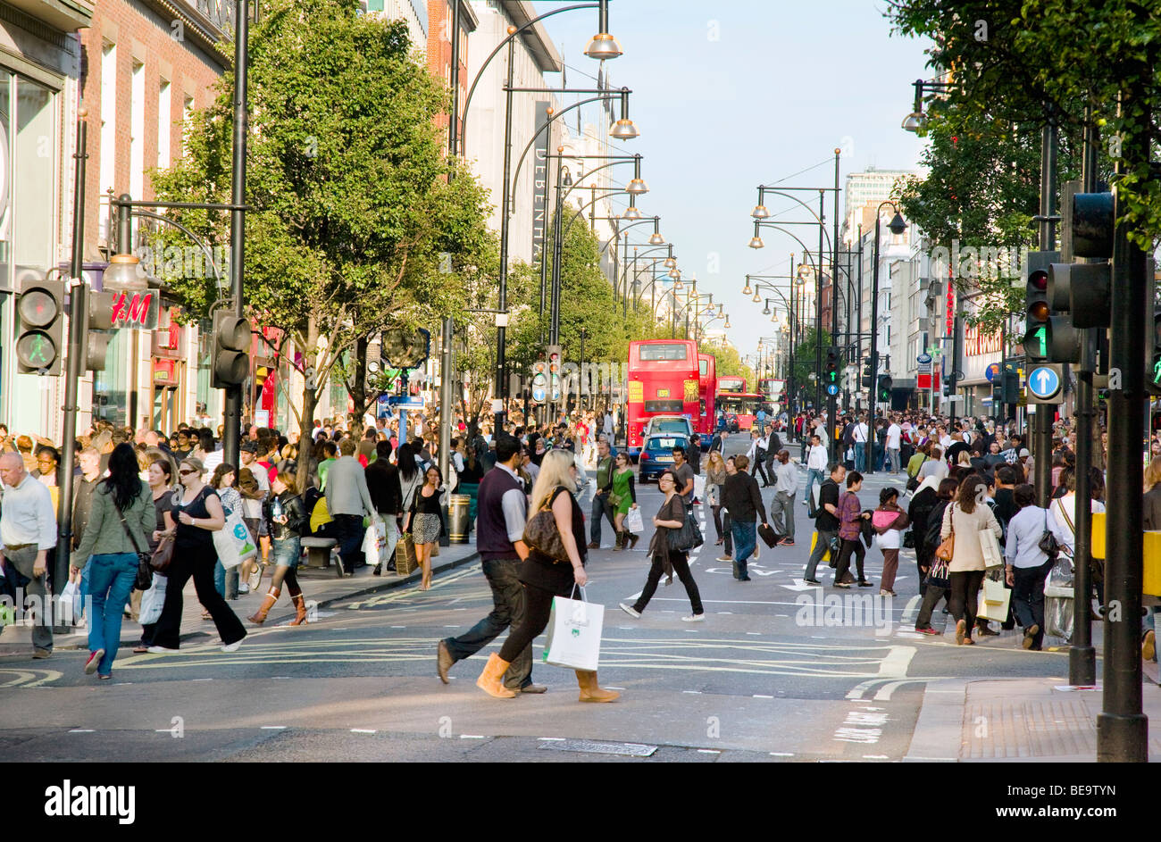 Busy Oxford Street in London England - Stock Image