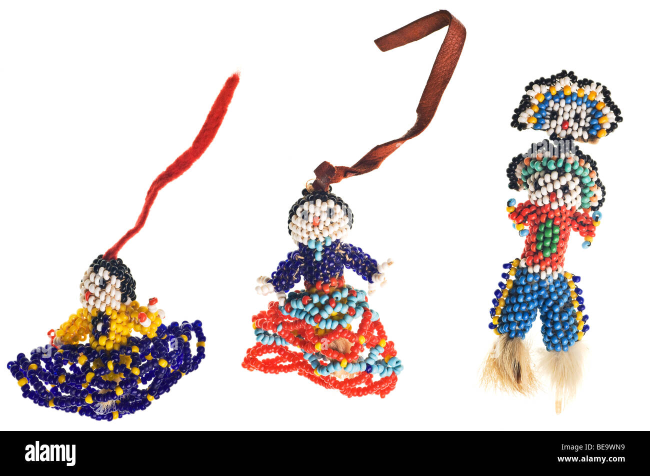 Native American Seminole handmade doll isolated on white - Stock Image
