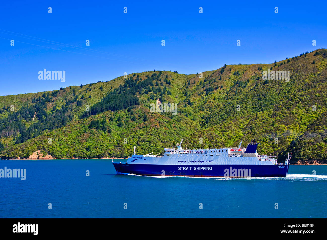 Bluebridge Ferry - Strait Shipping, Monte Stello, in the Tory Channel, Queen Charlotte Sounds, South Island, New - Stock Image