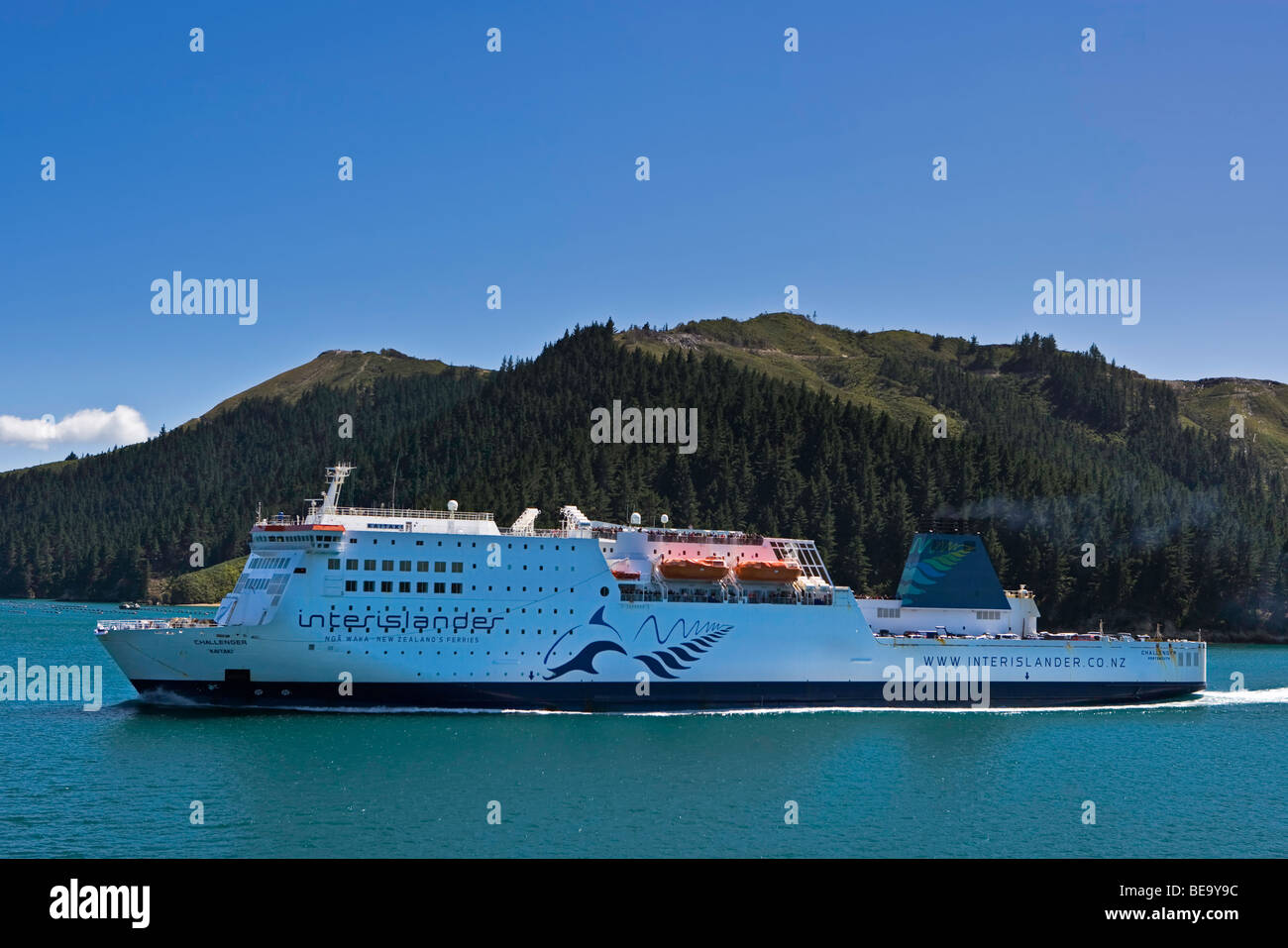 The Challenger Kaitaki, Interislander Ferry, in the Tory Channel, Queen Charlotte Sounds, South Island, New Zealand. - Stock Image