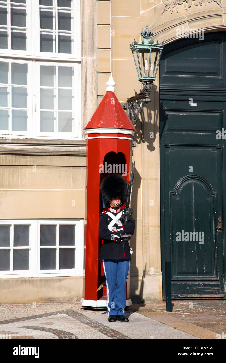 Sentry with bearskin from the Royal Life Guards in front of his sentry box at the Amalienborg Palace in Copenhagen. - Stock Image
