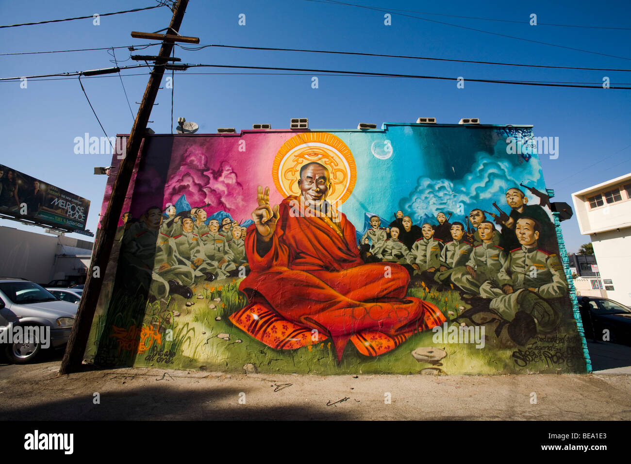 Dalai Lama Mural, an alley near Melrose Ave, West Hollywood, Los Angeles County, California, United States of America - Stock Image