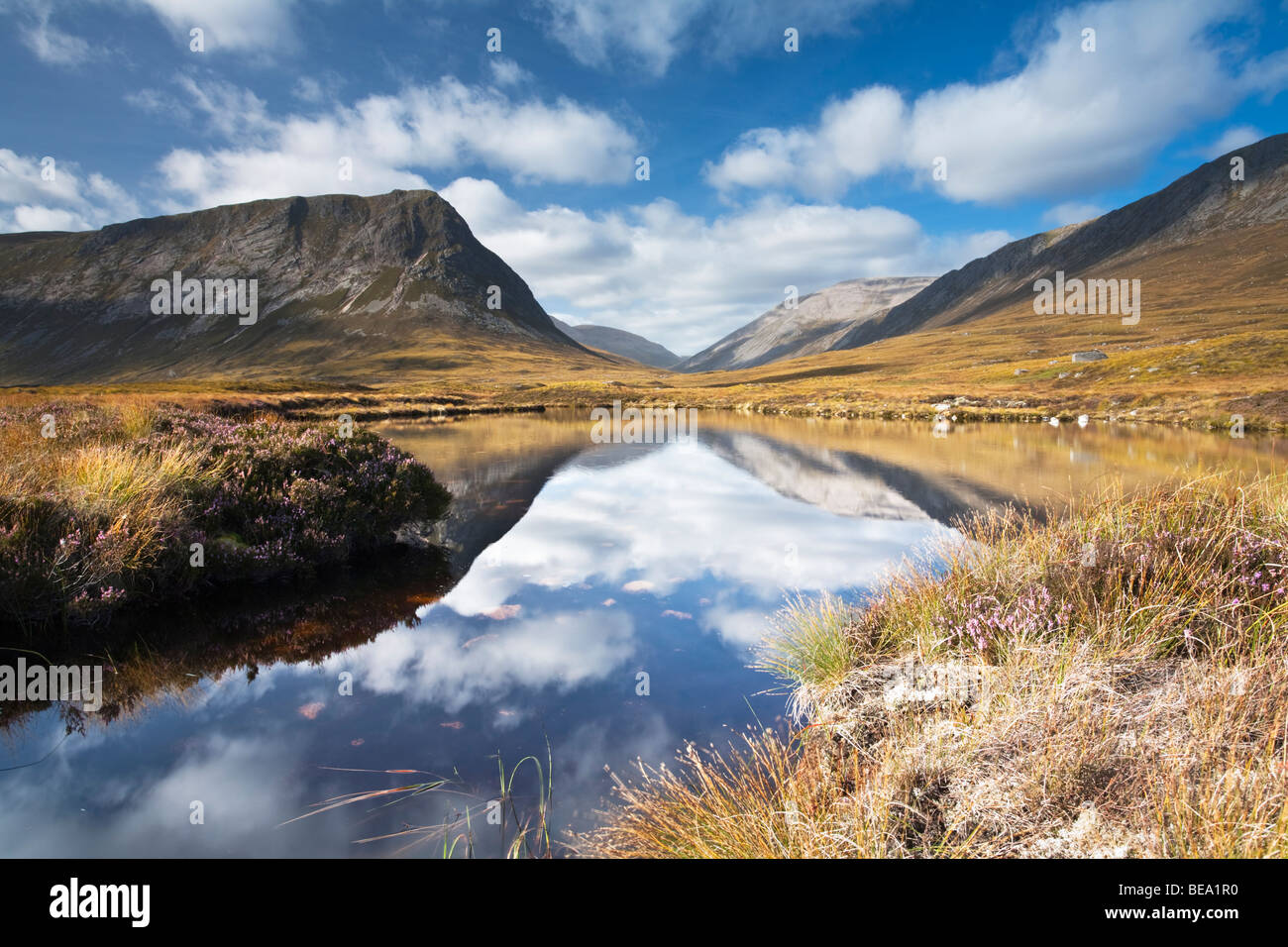 Looking up Glen Dee towards Ben Macdui and The Devil's Point, Cairngorm and Grampian Mountains, Scotland, Uk - Stock Image