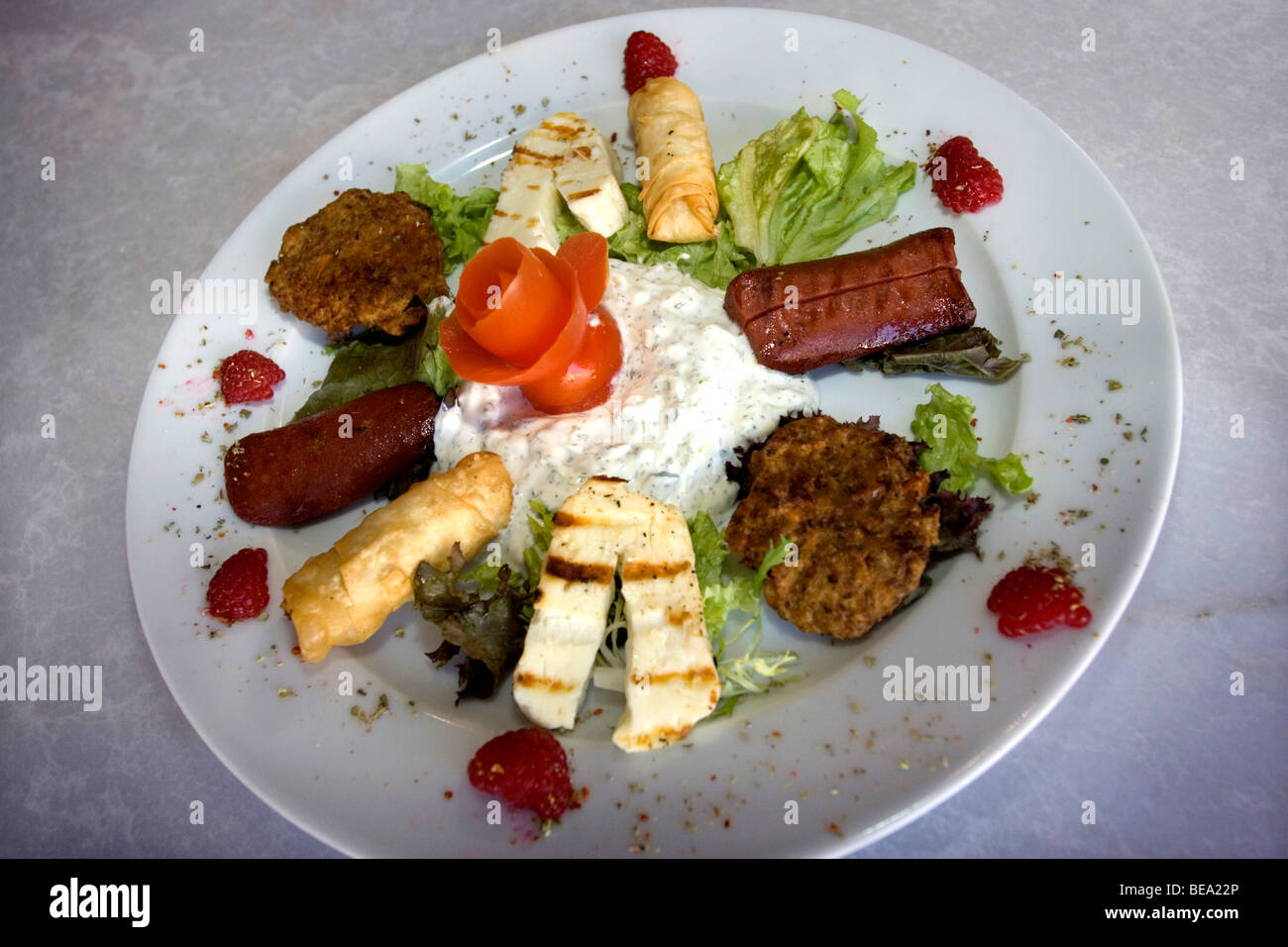 Close-up of a plate of Hot Greek mezze platter in a modern Greek restaurant in Hove, East Sussex, UK. - Stock Image