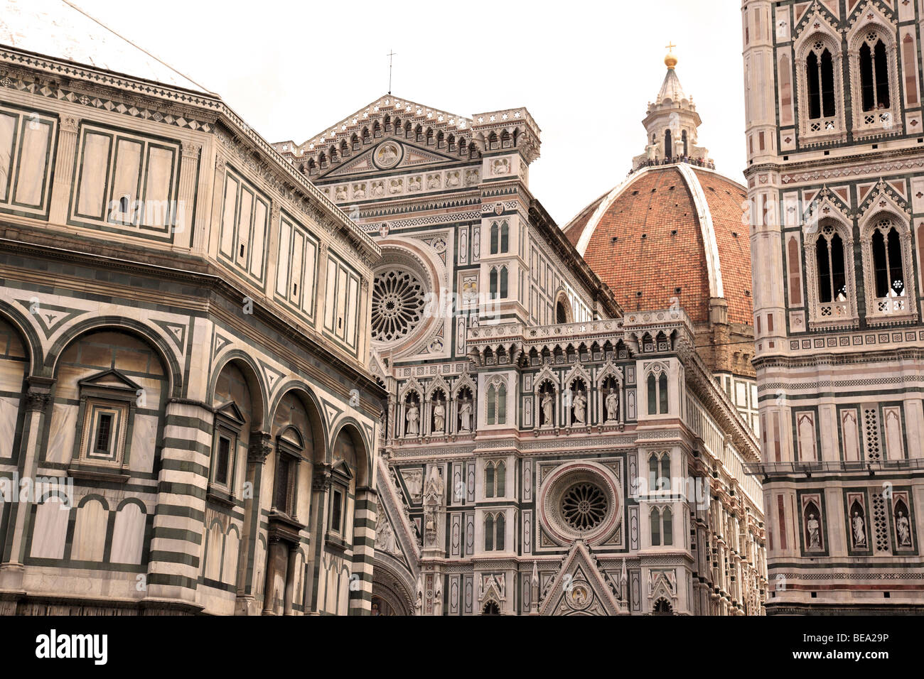 The Baptistry, Duomo and Campanile are the most famous landmarks in Florence Italy - Stock Image