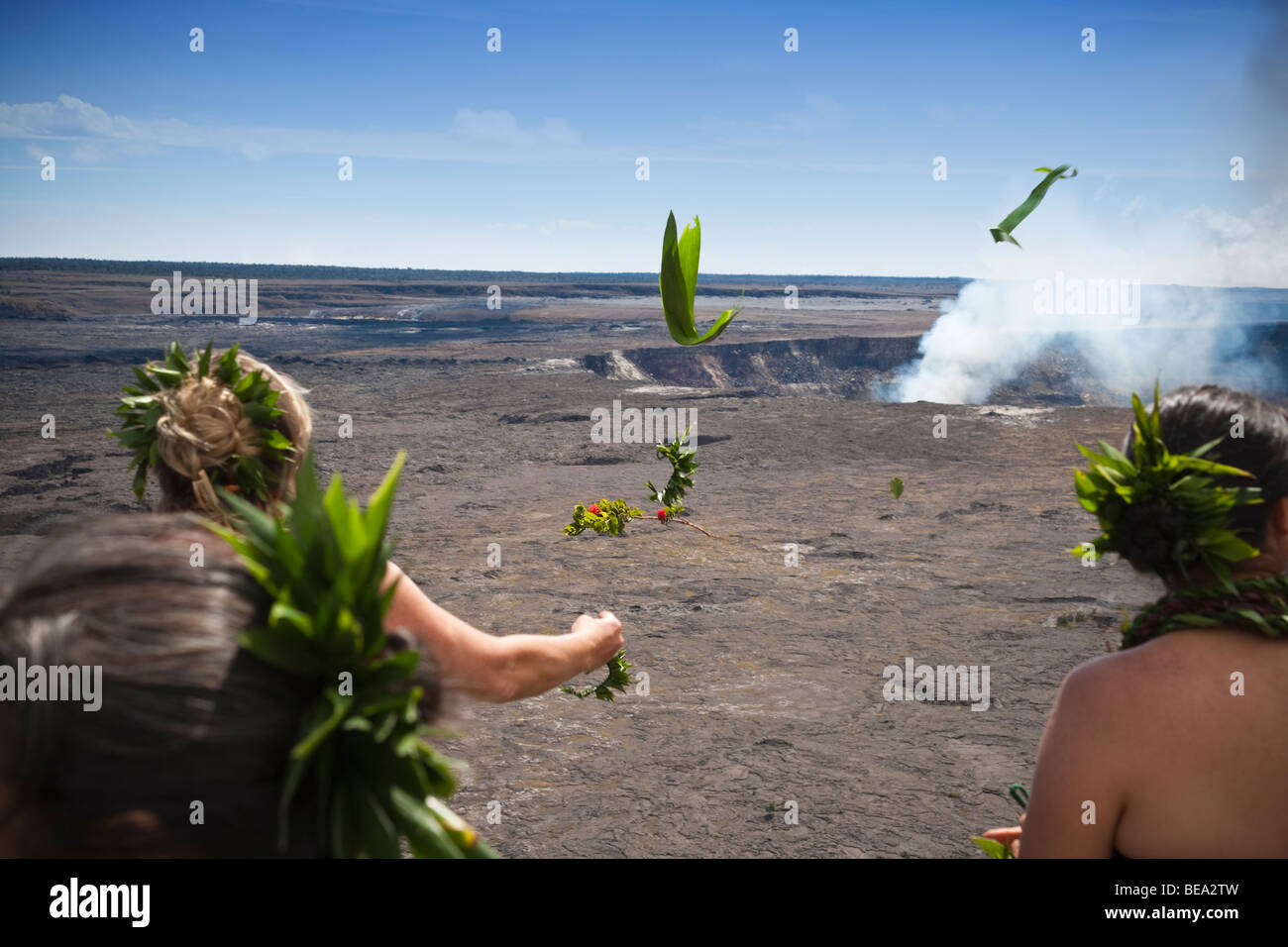 Ti and lehua plants tossed into Kilauea Crater to Volcano Goddess Pele - Stock Image
