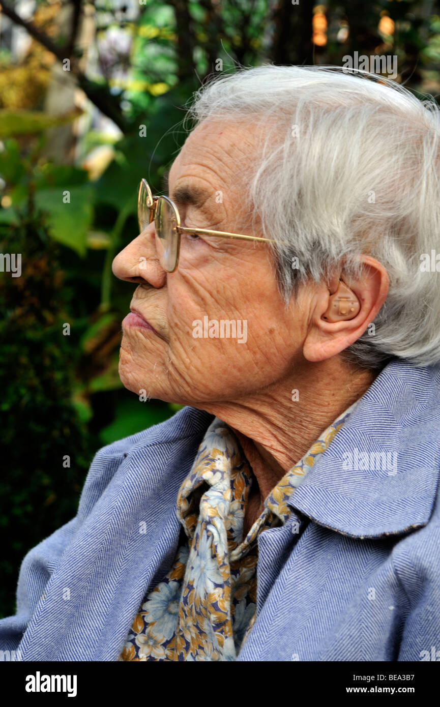 Portrait of a determined elderly woman - Stock Image