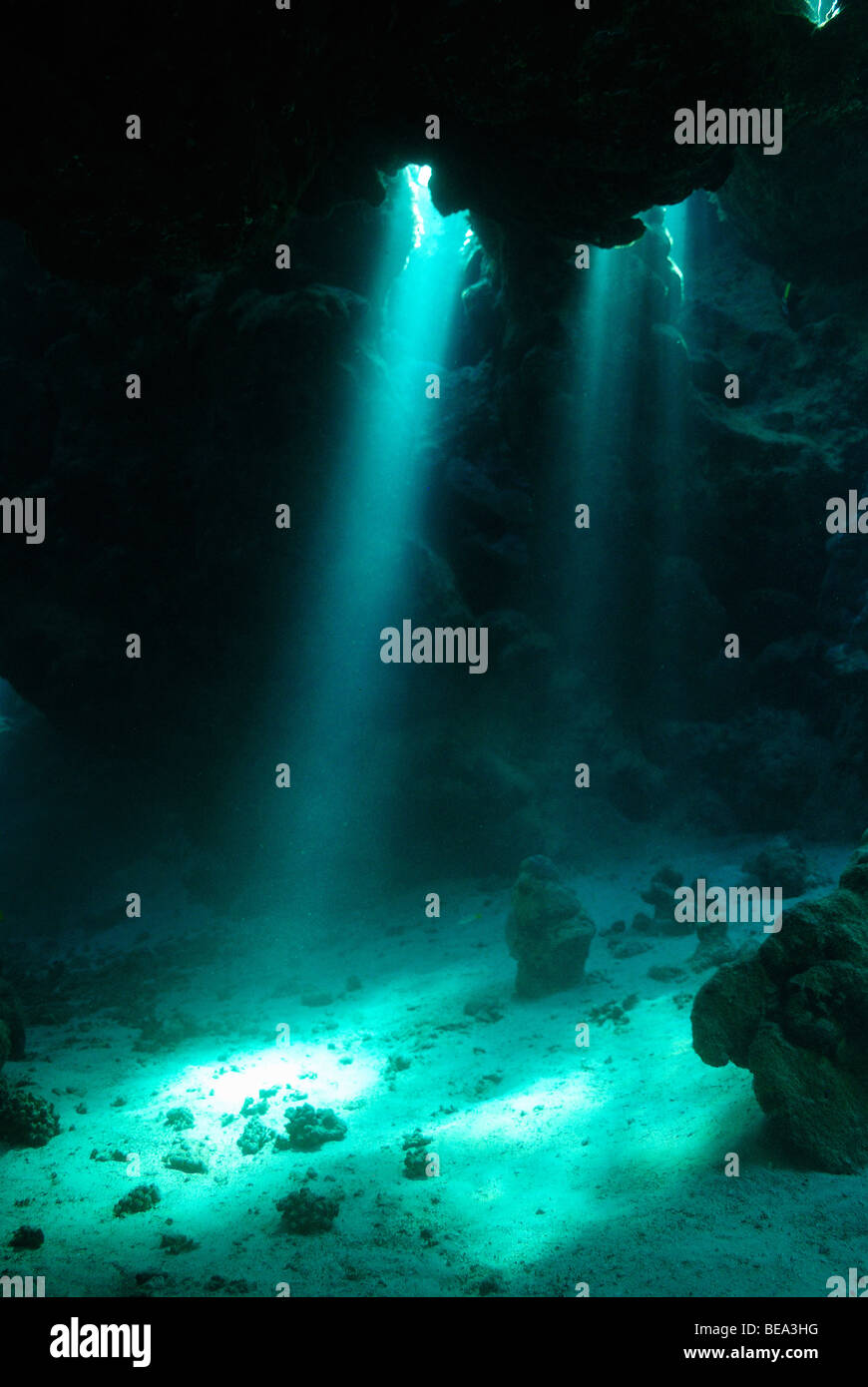 Rays Of Light Stream Inside An Underwater Cave, Red Sea