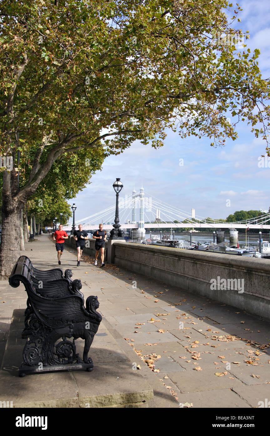 Albert Bridge and Embankment, Chelsea, Royal Borough of Kensington and Chelsea, Greater London, England, United - Stock Image