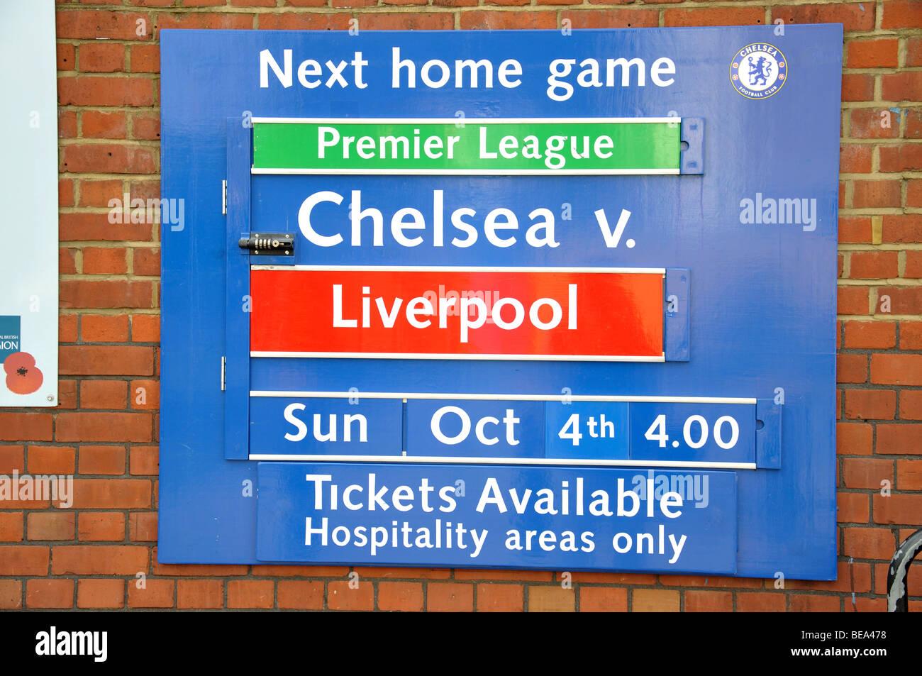 Match sign, Stanford Bridge Football Ground, Fulham, London Borough of Hammersmith and Fulham, London, England, - Stock Image