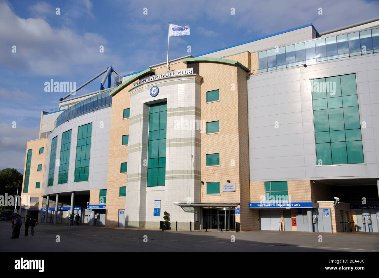 Chelsea's Stanford Bridge Football Ground, Fulham, London Borough of Hammersmith and Fulham, London, England, - Stock Image