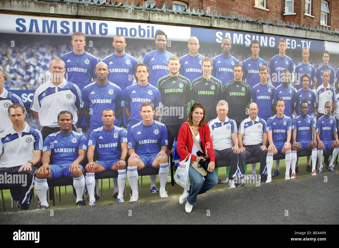 Team poster, Stanford Bridge Football Ground, Fulham, London Borough of Hammersmith and Fulham, London, England, - Stock Image
