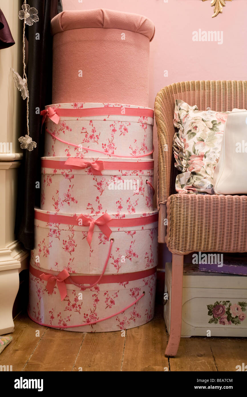 Stack Of Decorative Hat Boxes In A Room Stock Photo